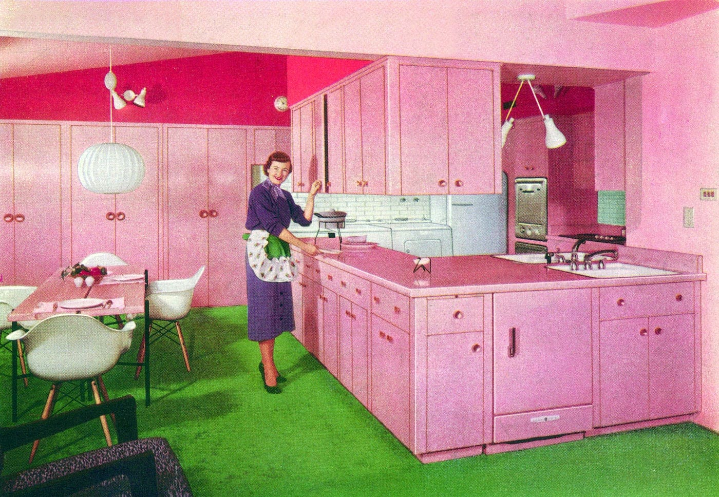 1950s pink kitchen with formica