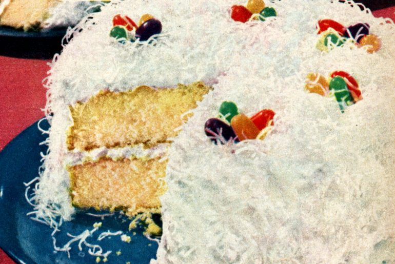 1950s-style Easter cake recipes with jelly beans and coconut