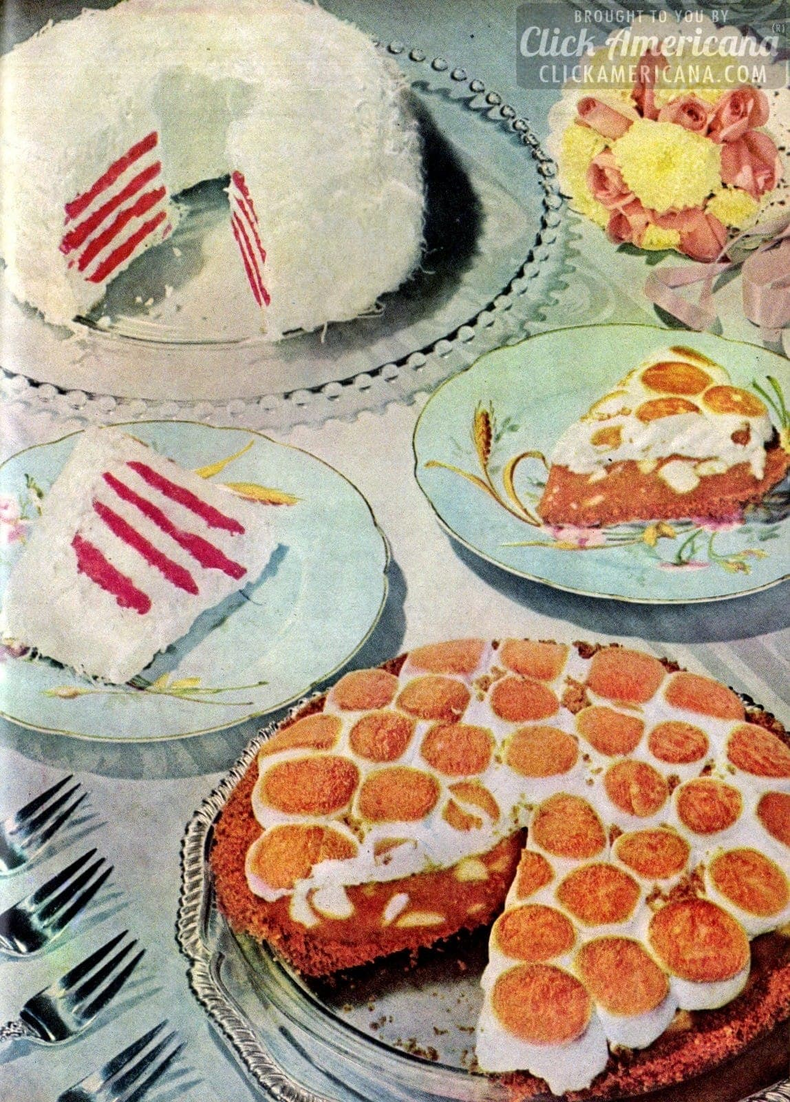 Festive Polka Dot Pie & Ribbon Cake Recipes (1951)