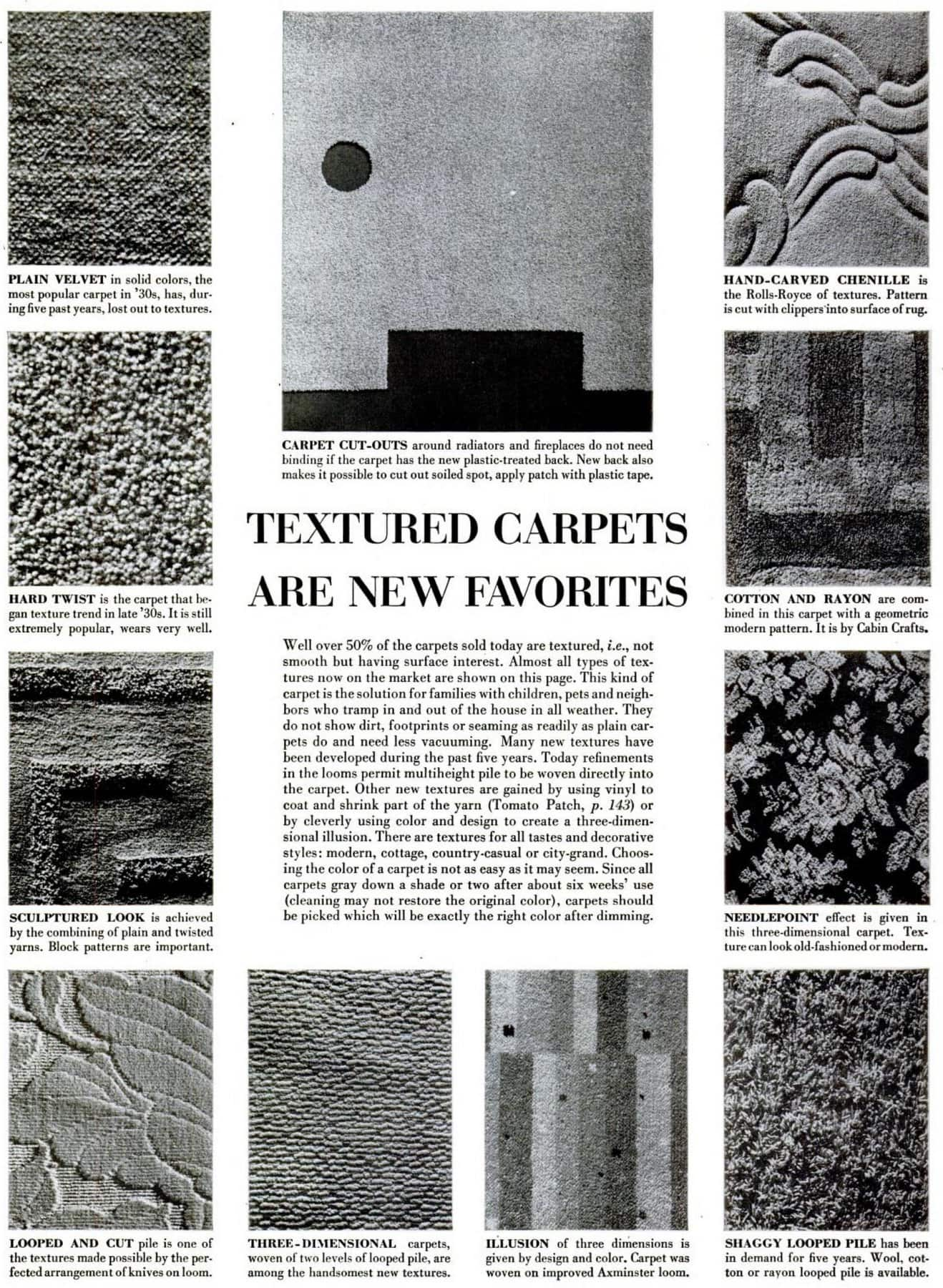 1951 Textured carpet styles