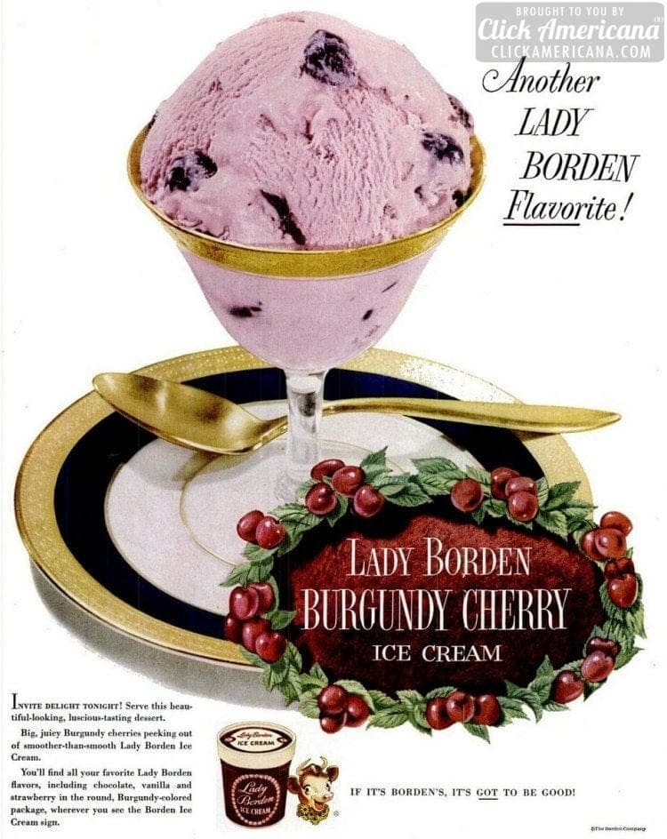 Burgundy Cherry vintage ice cream flavor (Borden's - 1951)