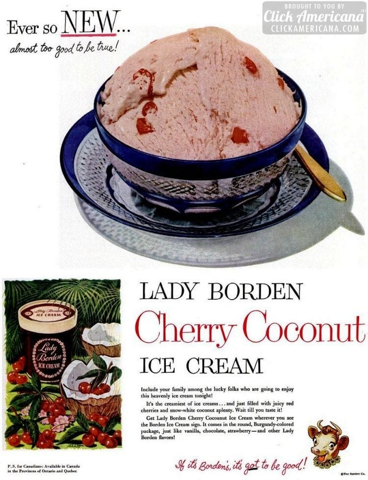 Cherry-Coconut ice cream (Borden's - 1951)