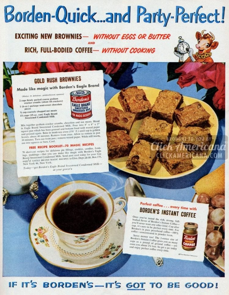 Gold Rush brownies recipe (1951)