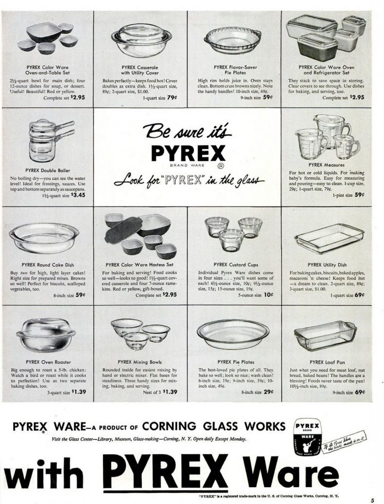1952 Pyrex dishes