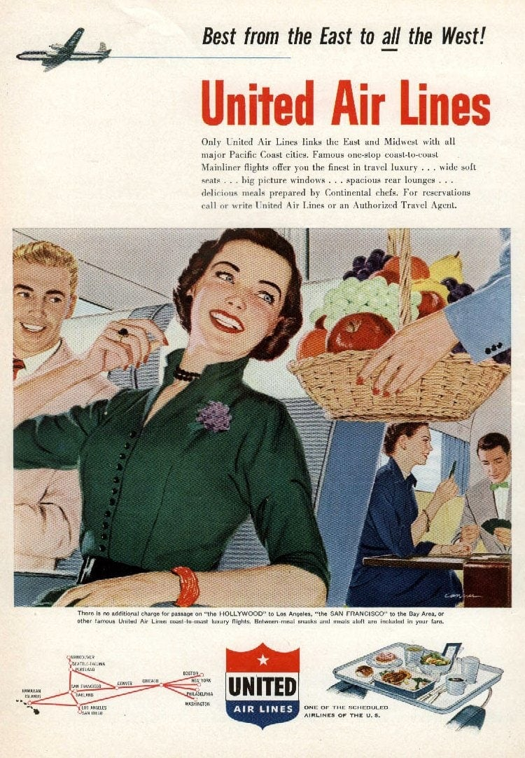 1952 United Airlines - bowl of fruit