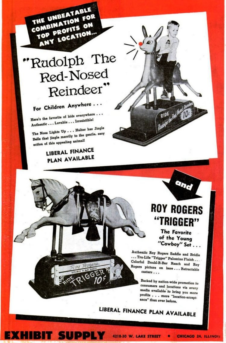 1952 Vintage coin-operated ride-on toys - Rudolph and Trigger