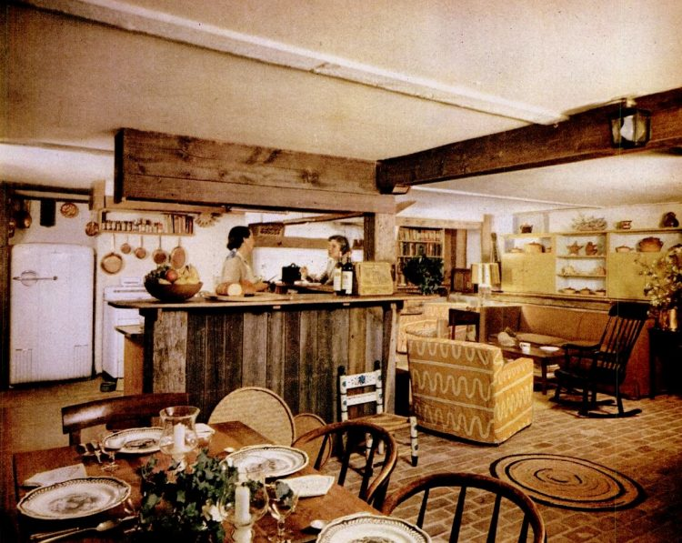 1952 kitchen and dining area for a family