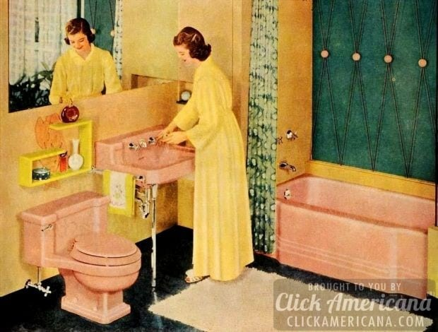 Retro pink bathrooms: Pink meets yellow meets teal