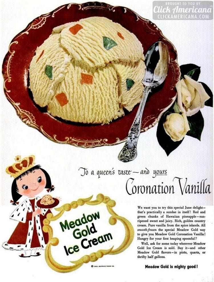 Coronation Vanilla ice cream (Meadow Gold - 1953)
