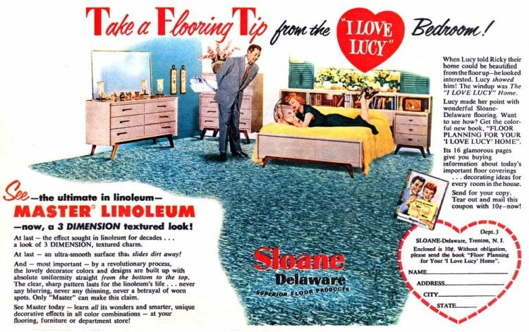 Flooring from fifties: I Love Lucy bedroom linoleum flooring for the home