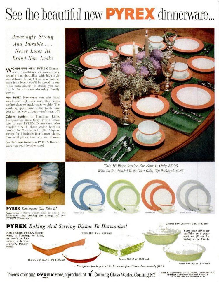 1953 Pyrex dinnerware