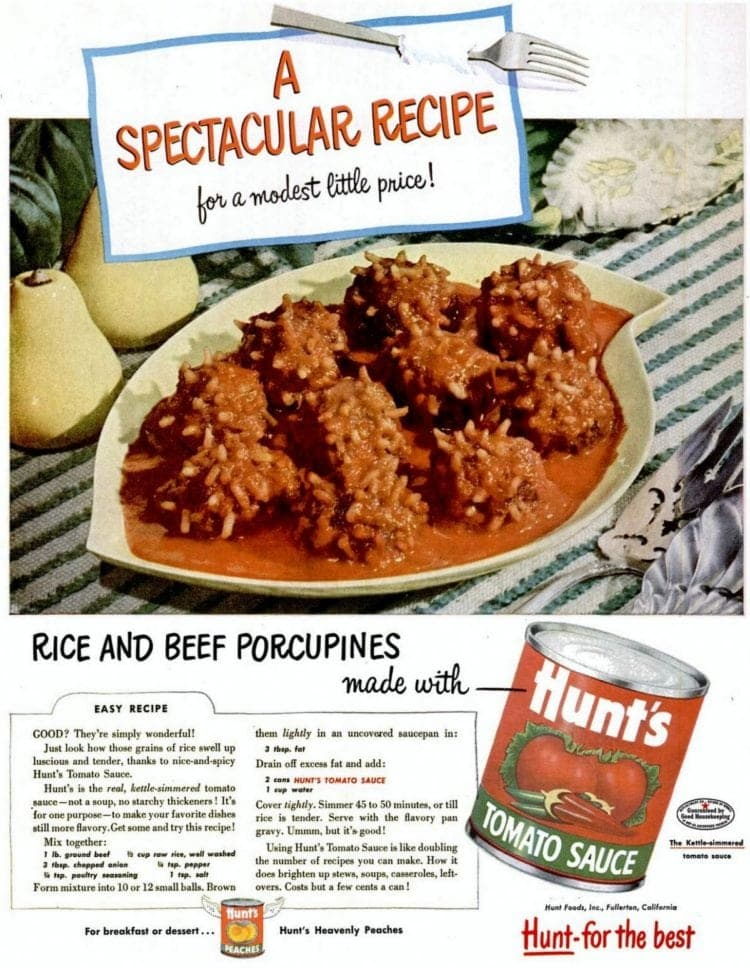 1953 Rice and beef porcupines recipe