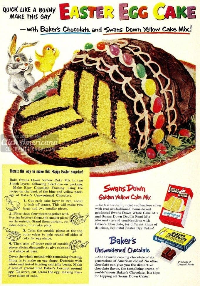 Quick, like a bunny! Make this Easter egg cake (1953)