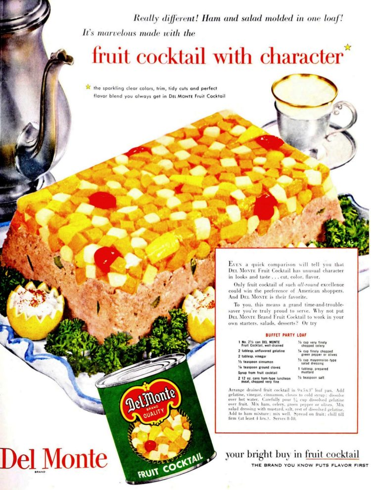1953 recipe for fruit cocktail and ham party loaf