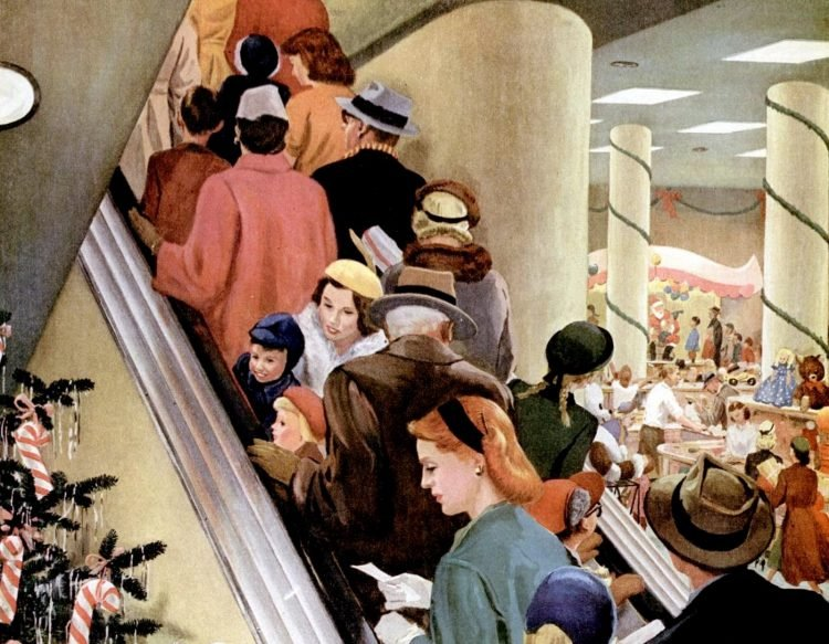 1955 Christmas mall shopping escalator