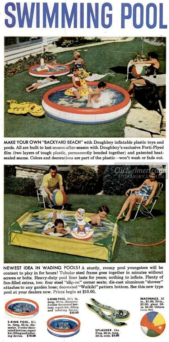 1955 Doughboy swimming pool - Backyard beach
