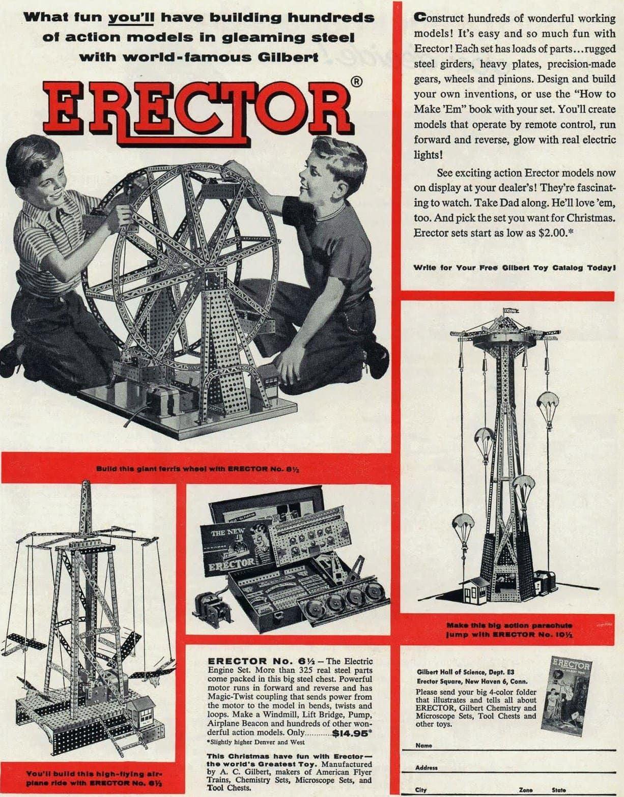 1955 Erector Set toys
