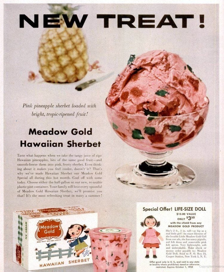 Hawaiian ice cream (Meadow Gold - 1955)