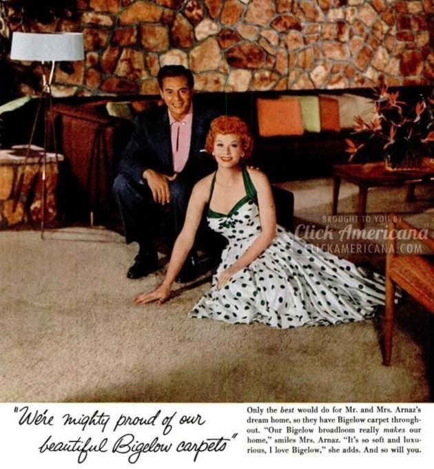 Lucy & Desi Arnaz choose their dream carpet (1955)