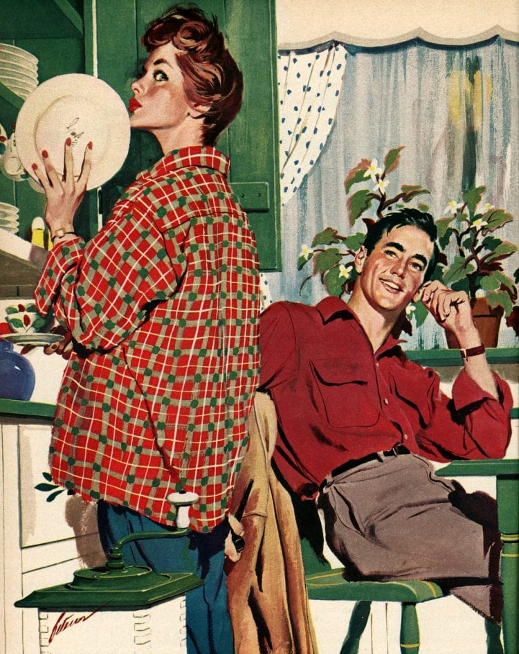 1955 Putting away dishes - Happy housewife
