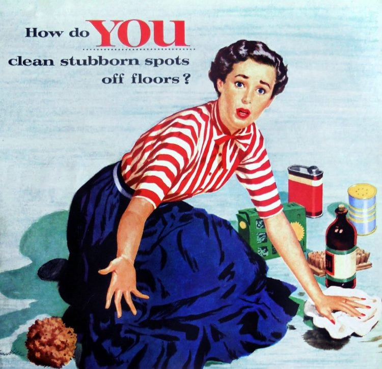 1955 SOS housewife cleaning