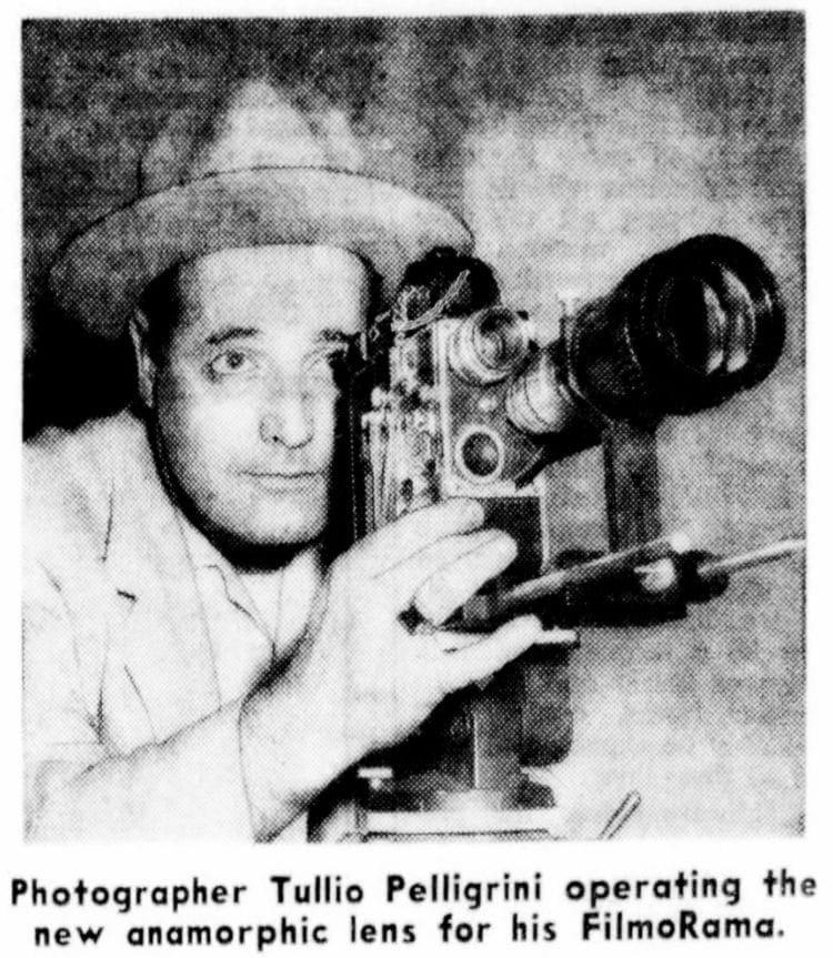 1955 - San Francisco photographer Tullio Pelligrini operating the new anamorphic lens for his FilmoRama