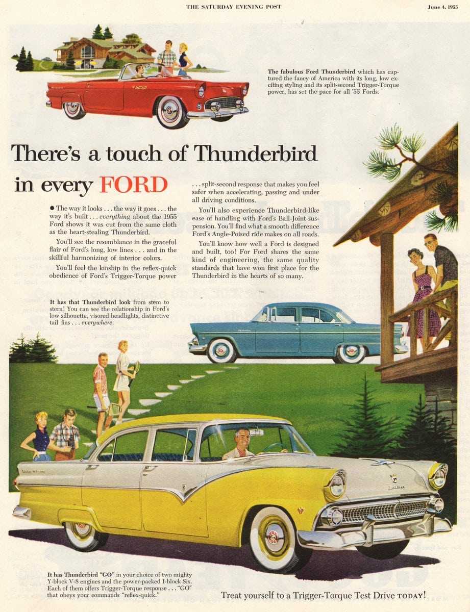1955 There's a touch of Thunderbird in every Ford