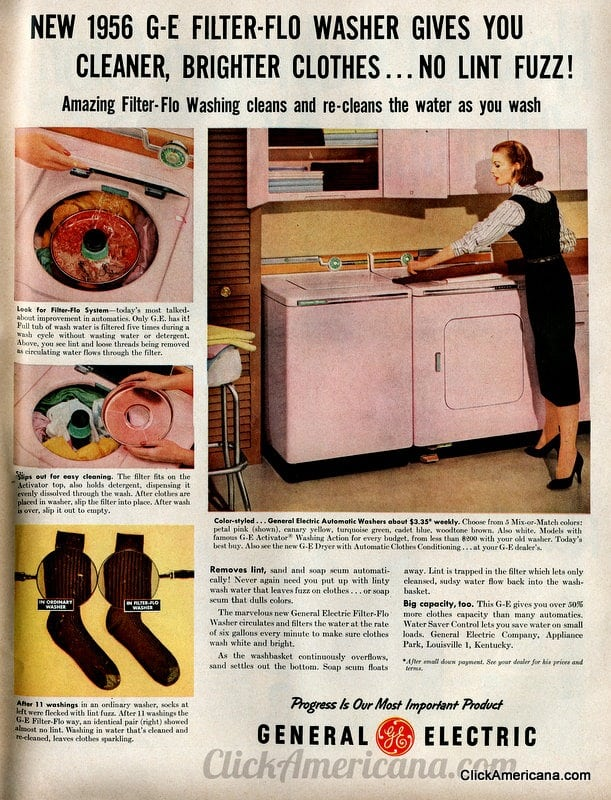1956 G-E pink washer dryer retro vintage 50s just peachy,darling