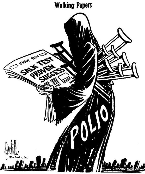 Polio vaccine editorial cartoon - the Grim Reaper