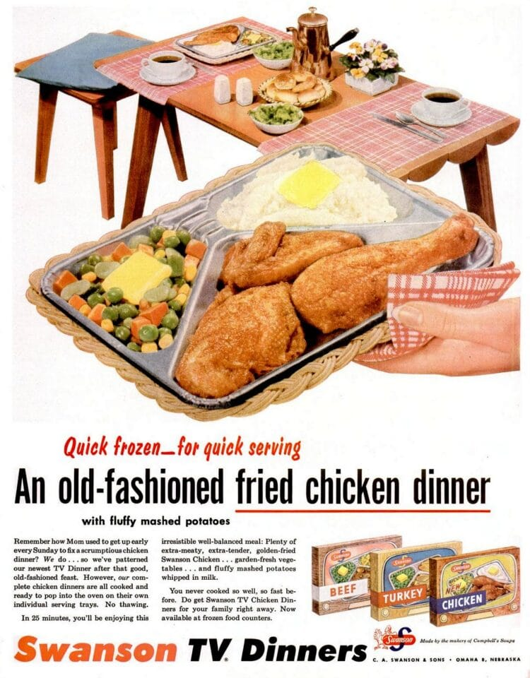1955 vintage old-fashioned fried chicken TV dinner