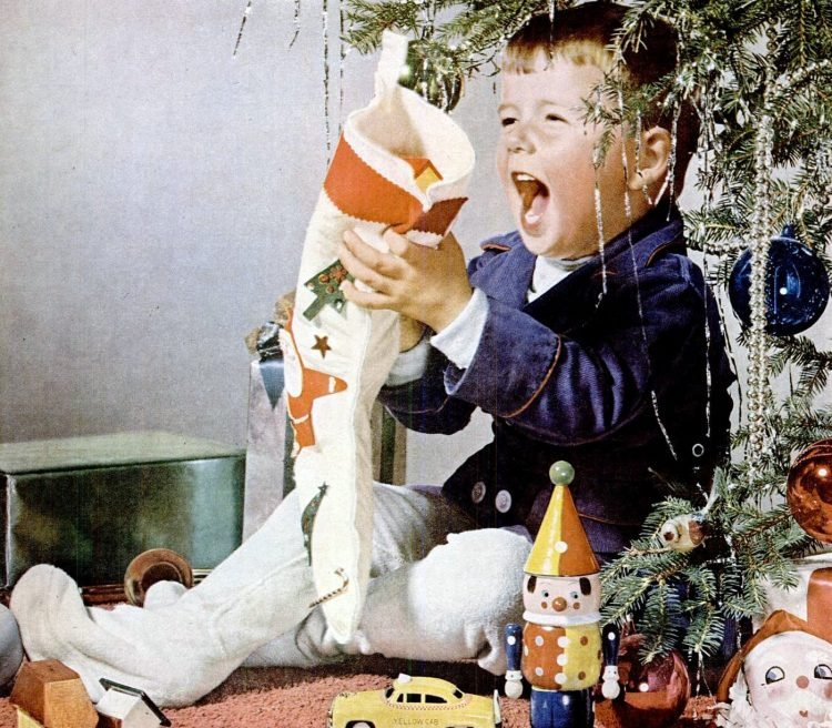 1956 - An excited boy with Christmas stocking