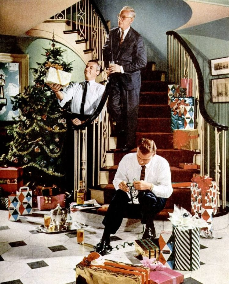 1956 Christmas stairs home