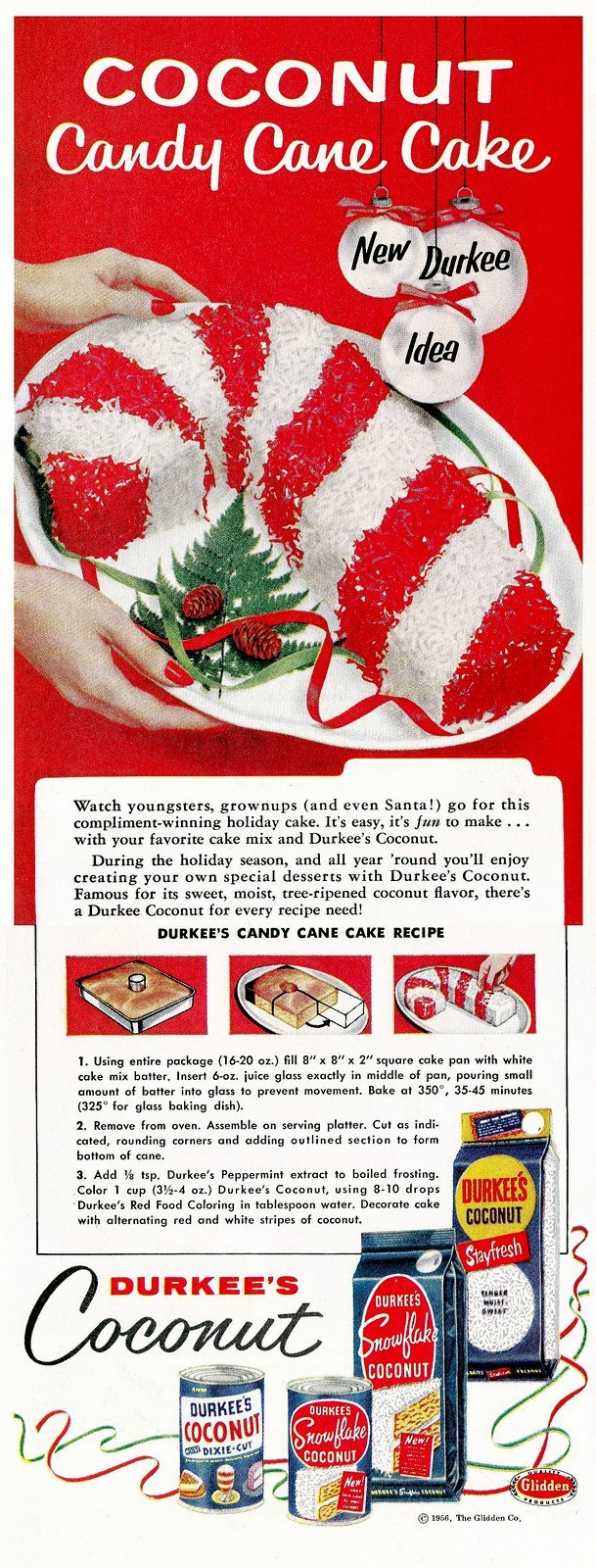 1956 Coconut candy cane cake recipe