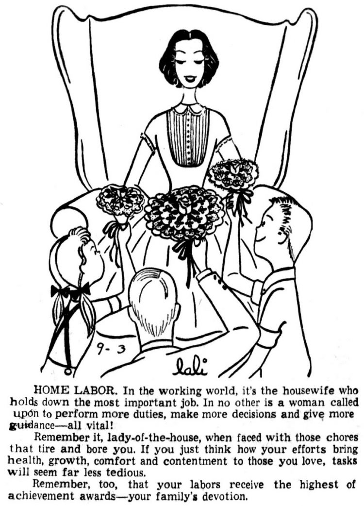 It's the housewife who holds down the most important job - Cincinnatii Enquirer (September 3, 1956)