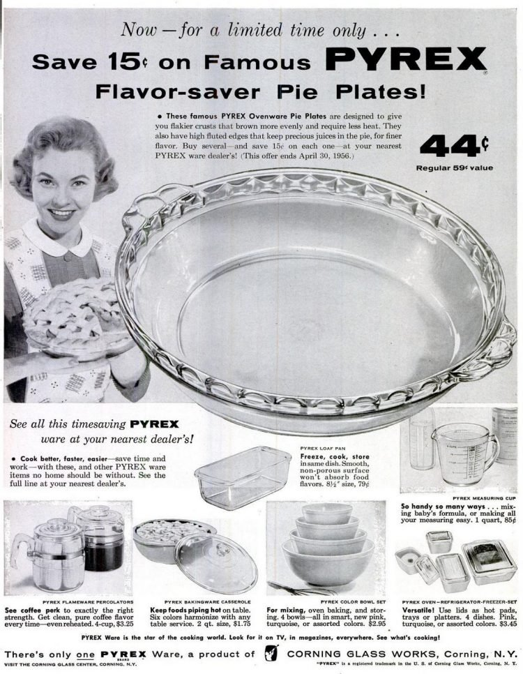 1956 Pyrex pie plates