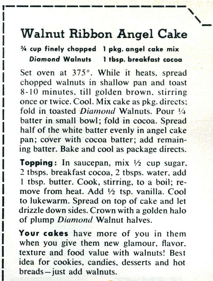 Walnut ribbon angel cake recipe card