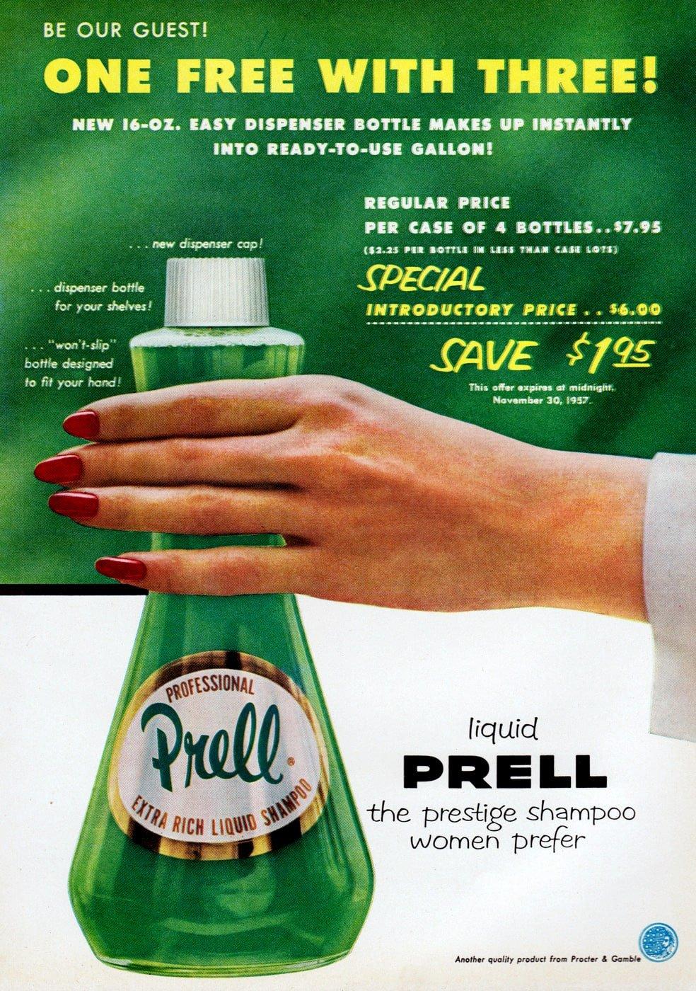 1957 Prell shampoo ad