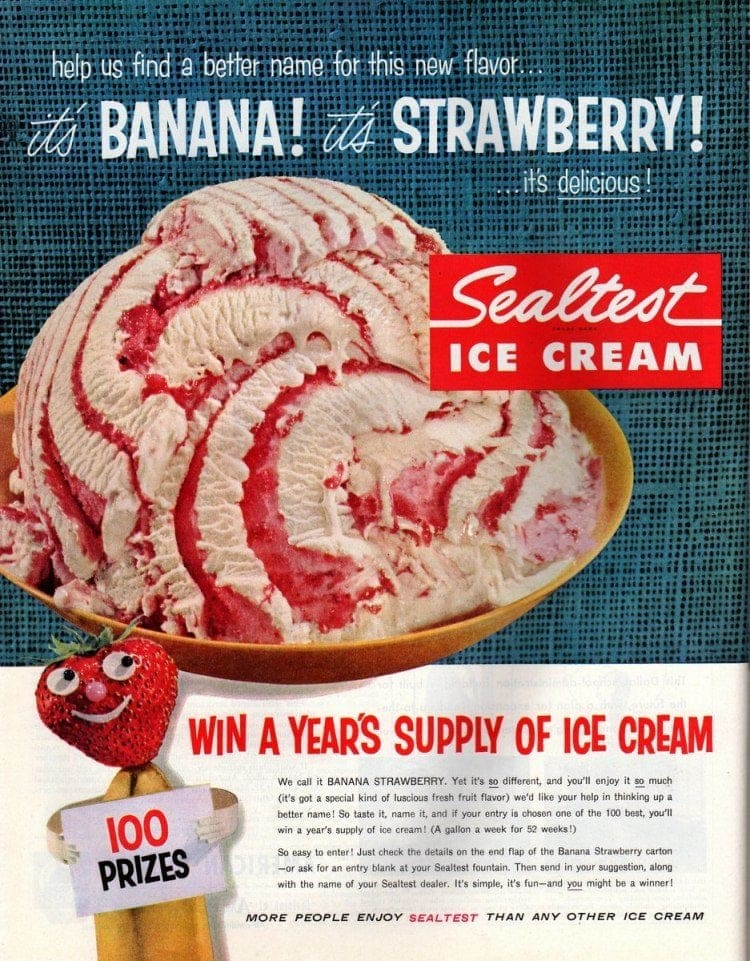 Banana-Strawberry classic ice cream (Sealtest - 1957)