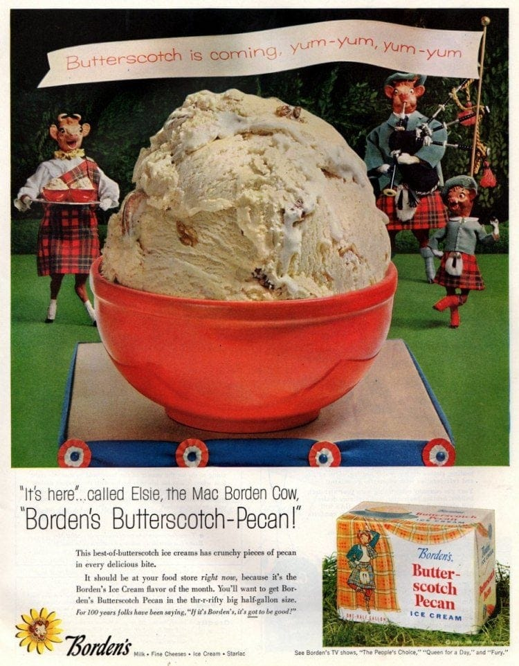 Butterscotch-Pecan vintage ice cream (Borden's - 1957)