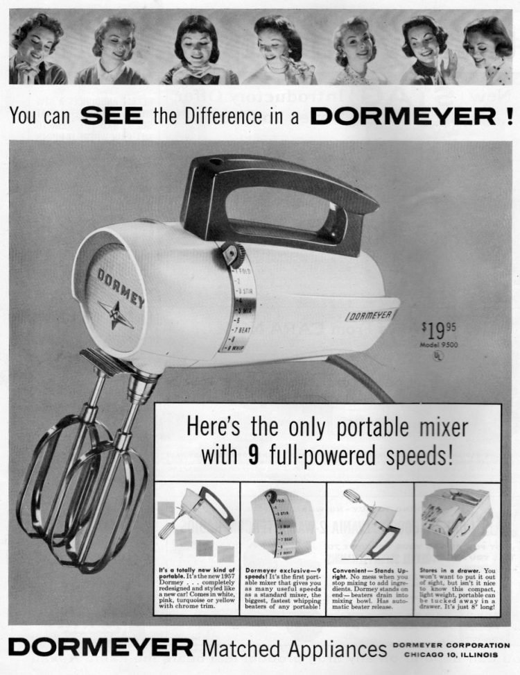 Dormeyer portable mixer with 9 speeds! (1957)