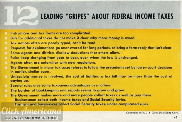 1958-12 gripes about federal income taxes