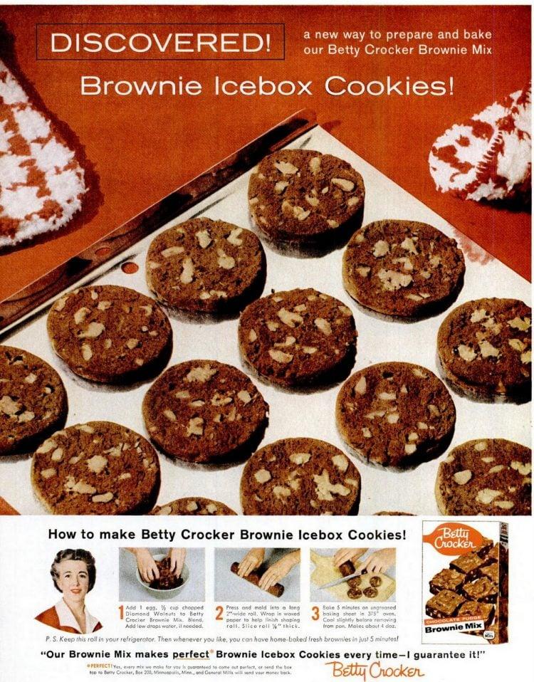 1958 Brownie icebox cookies - Vintage Betty Crocker cookie mix