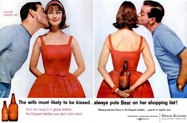 1958 Couple with beer - Wife most likely to be kissed