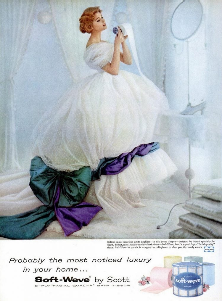 1958 Crazy toilet paper lady dress fashion beauty
