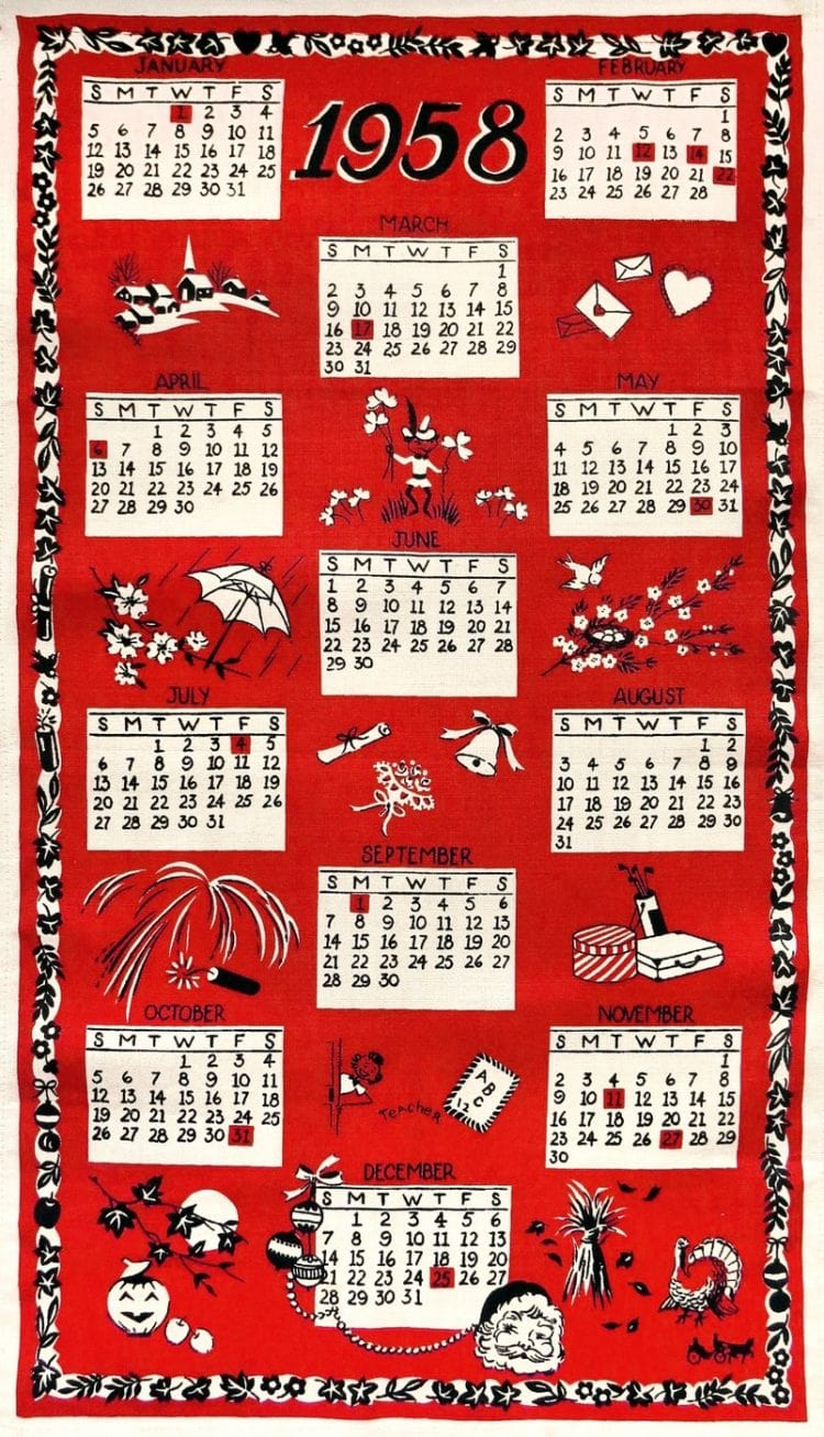 1958 Vintage towel calendar for the retro kitchen