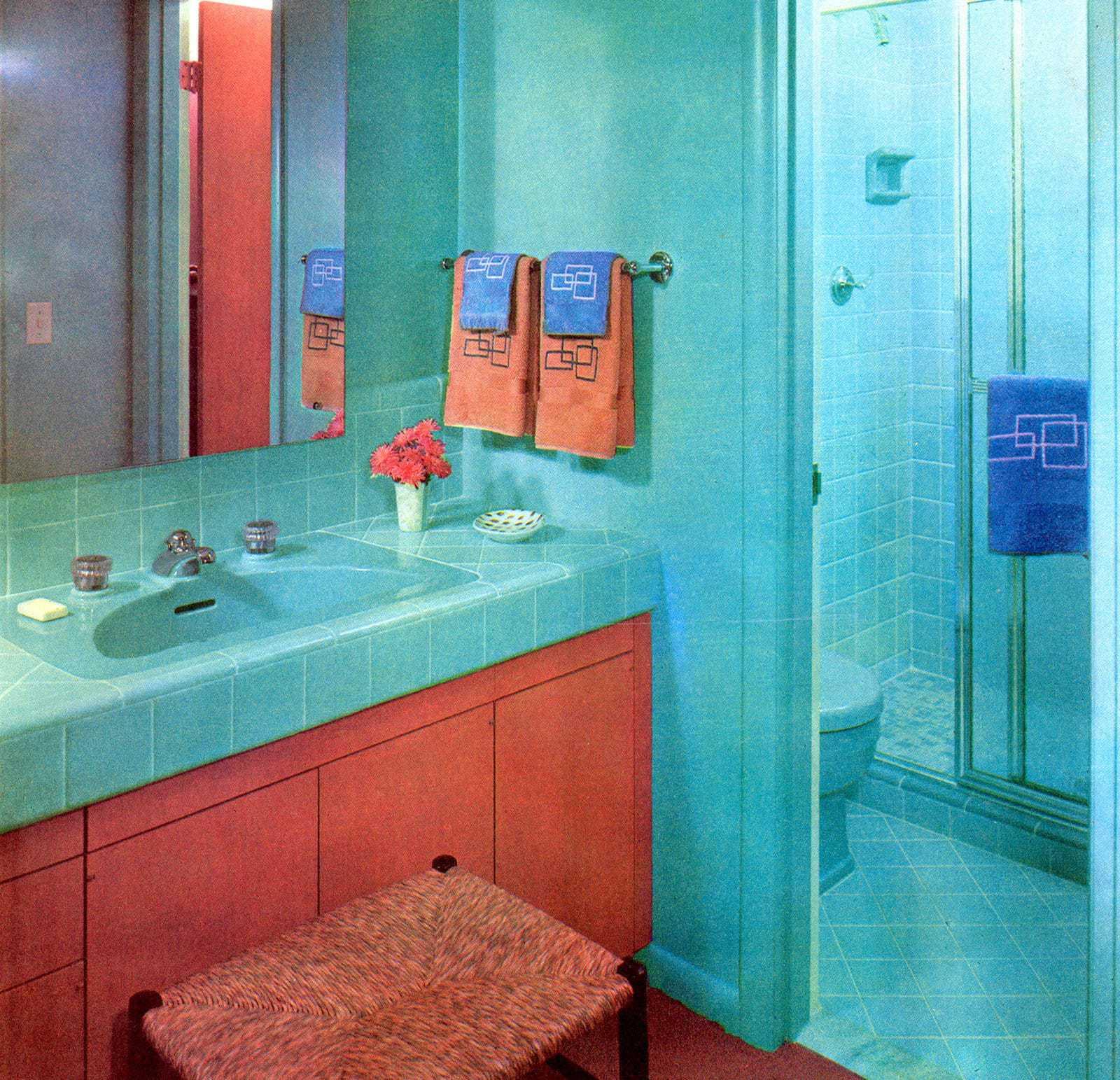 Retro bathroom decor in bright turquoise (1958)