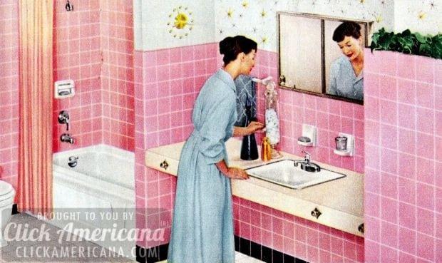 Bubblegum-pink wall tiles in a retro bathroom (1958)