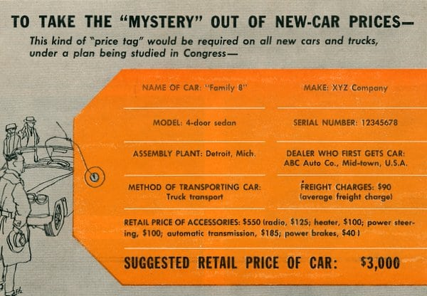 factory price tags for new cars 1958 click americana. Black Bedroom Furniture Sets. Home Design Ideas