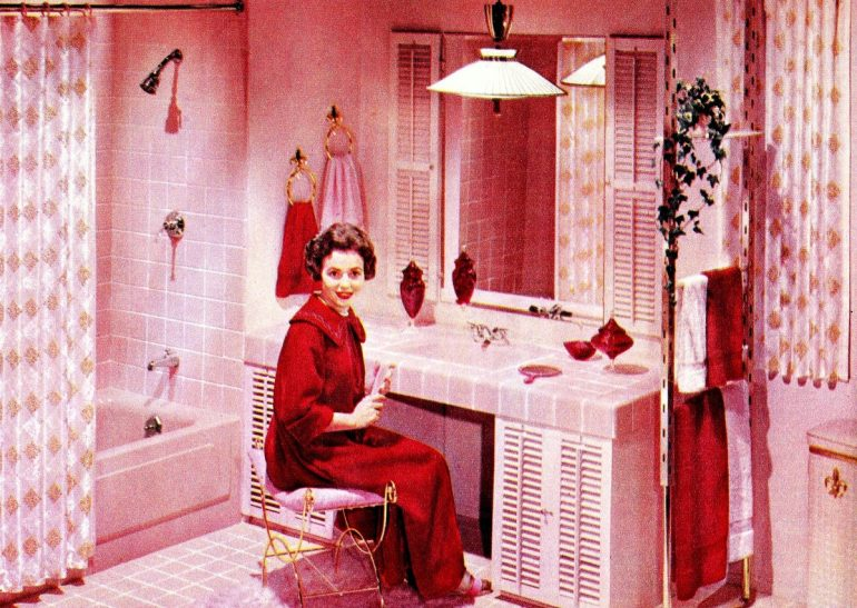 Rose bathroom suite with red accents (1958)