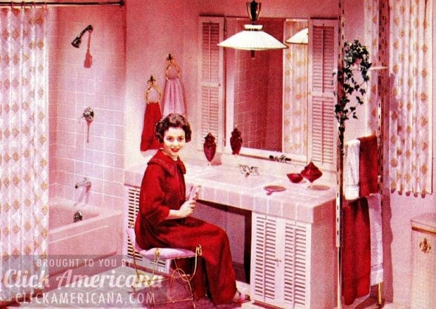 Vintage pink bathrooms:Pink and red and flowers everywhere you look!